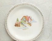 """Petit Point House Pantry Bak In Ware Crooksville Earthenware Plate Ivory Lunch Gold Trim 9 1/8"""" Inch"""