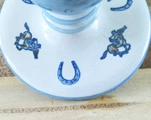 Louisville Stoneware Candle Sticks Kentucky Derby Churchill Downs Candle Holders Blue and Grey