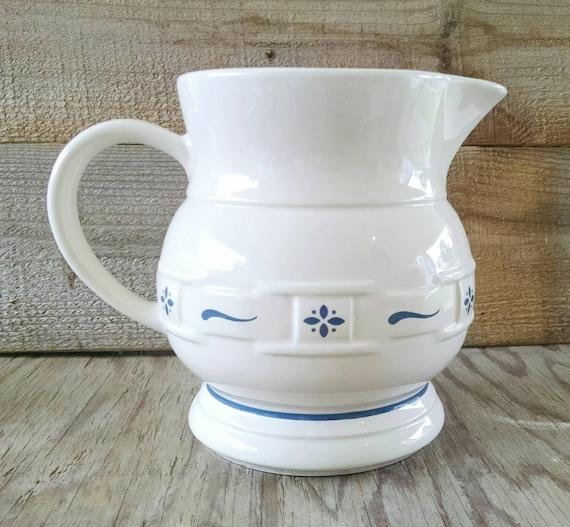 Longaberger Pottery Pitcher Woven Tradition Blue Stoneware