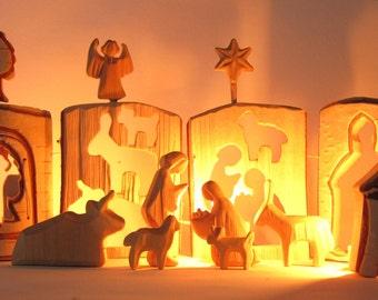 Nativity Set, Wooden Nativity, Christmas Manger, Carved Nativity, Christmas, Creche, Wooden Nativity Scene, Woodcarving, Christmas Gift