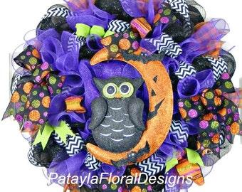 Halloween Wreath, Halloween Wreaths, Halloween Owl Wreath, Mesh Wreaths, Spooky Wreath, Deco Mesh Wreath, Halloween Decoration, Wreaths