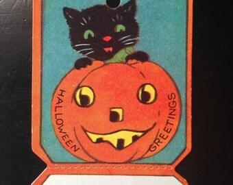 Antique Halloween Black Cat Jack O Lantern Gift Tag 1920s Halloween Decor Display Collectible