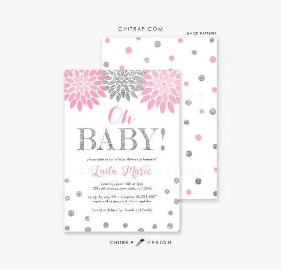 pink silver baby shower invitation printed oh baby floral confetti