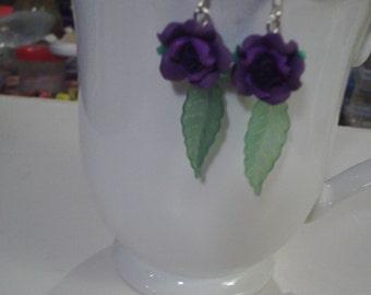 Purple Rose Earrings - Free Shipping