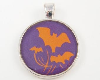 Halloween Pendant, Bat Pendant, Orange Purple Halloween Jewelry Charm
