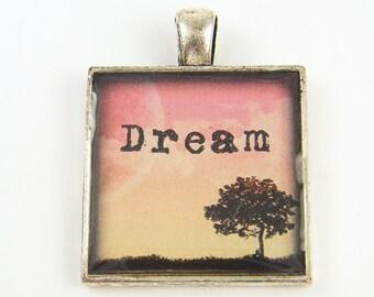 Dream Pendant, Inspirational Pendant Pink Peach Tree Pendant Affirmation Landscape Motivational Jewelry Charm