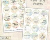 napisy i cytaty po polsku - 2.5 inch circles - set of 24 - digital collage sheet - pocket mirrors, tags, scrapbooking, cupcake toppers