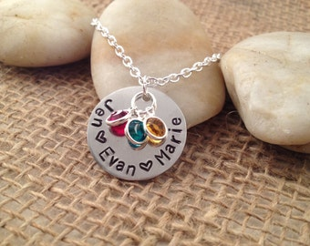 Round Mommy Necklace with Names and Swarovski Birthstones