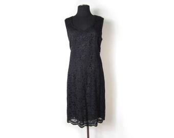 1980s Black Sheath Dress with Sheer Lace Overlay - Jewel Neckline Sleeveless Tank