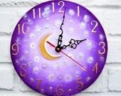 The Purple Moon and Stars Wall Clock Home Decor for Children Baby Kid Girl Nursery Playroom
