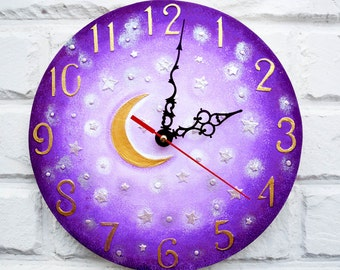 The Purple Moon and Stars, Modern wall clock with numbers, wood clock, white home decor, kids gift, wedding gift, for Office.