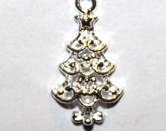 8 Bright Silver Christmas Tree Charms/Pendants