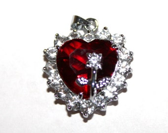 Ruby Red Heart Pendant/Charm with Rhinestones and Flower Silvertone Bail Included