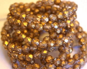 6 mm Gold Fire Polished Authentic Czech Round Beads