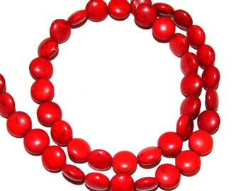 10 mm Red Puff Coin Turquoise, Magnesite Beads