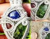 HEADY Lapis Lazuli Cab, Orange Spesspartine Garnet, Green Tourmaline Fine Silver Wire Wrapped Pendant