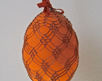 Handmade Copper Wire Wrapped Easter Eggs - Pysanky - Burnt Orange