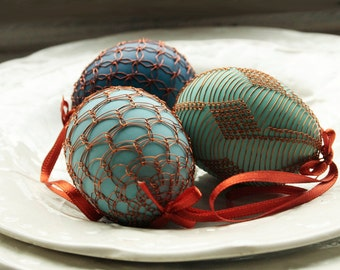 Handmade Copper Wire Wrapped Easter Eggs - Set - blue