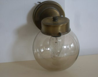 Vintage 60's Mid Century,Modern Entryway Light,Sconce Smoke Glass Globe