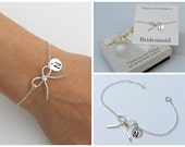 Personalized bow bracelet, sterling silver bow bracelet, mother of the bride, bow bracelet for bridesmaids.