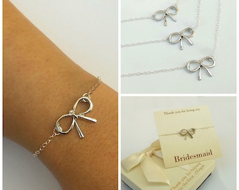 Free Shipping, Set of 3 bow bracelets for bridesmaids, bridesmaids gifts, sterling silver bow bracelets.