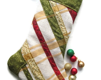Quilted Christmas Plaid Holiday Stocking – Green Christmas Stocking – Plaid Christmas Stocking – Hanging Stocking – Gold Christmas Stocking