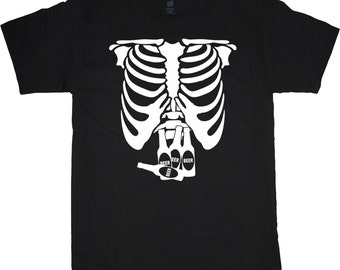 Men's T-shirt funny beer belly tee shirt rib cage