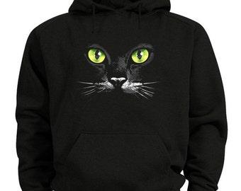 Black cat hoodie green eyed cat sweatshirt