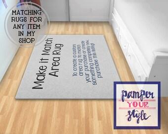 Make It Match Area Rug - Bedroom Rug - Monogrammed Area Rug - Personalized Rug Living Room- New Design or Made to Match Rug