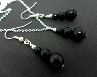 A hand made black onyx  beads   necklace and  earring set.