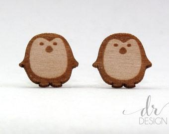 Laser Cut Wood Penguin Stud Earrings - wood penguin earring studs - lasercut wooden earrings - wood studs - penguin earrings - penguin studs