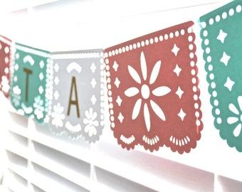 Papel picado banner, Papel picado party ideas, papel picado bridal shower, papel picado weddings, mint papel picado