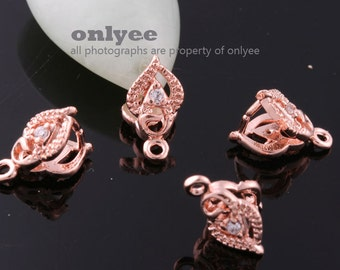 20Pcs-11mmX6mmRose Gold Plated Brass With cubic Pinch Bail,peg for pendant,earring (K776R)