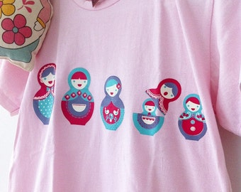 "Sale cute taro pink ""MATRYOSHKA"" silkscreen hand printed on pink t-shirt / tee / top for teens, children or petite adult"