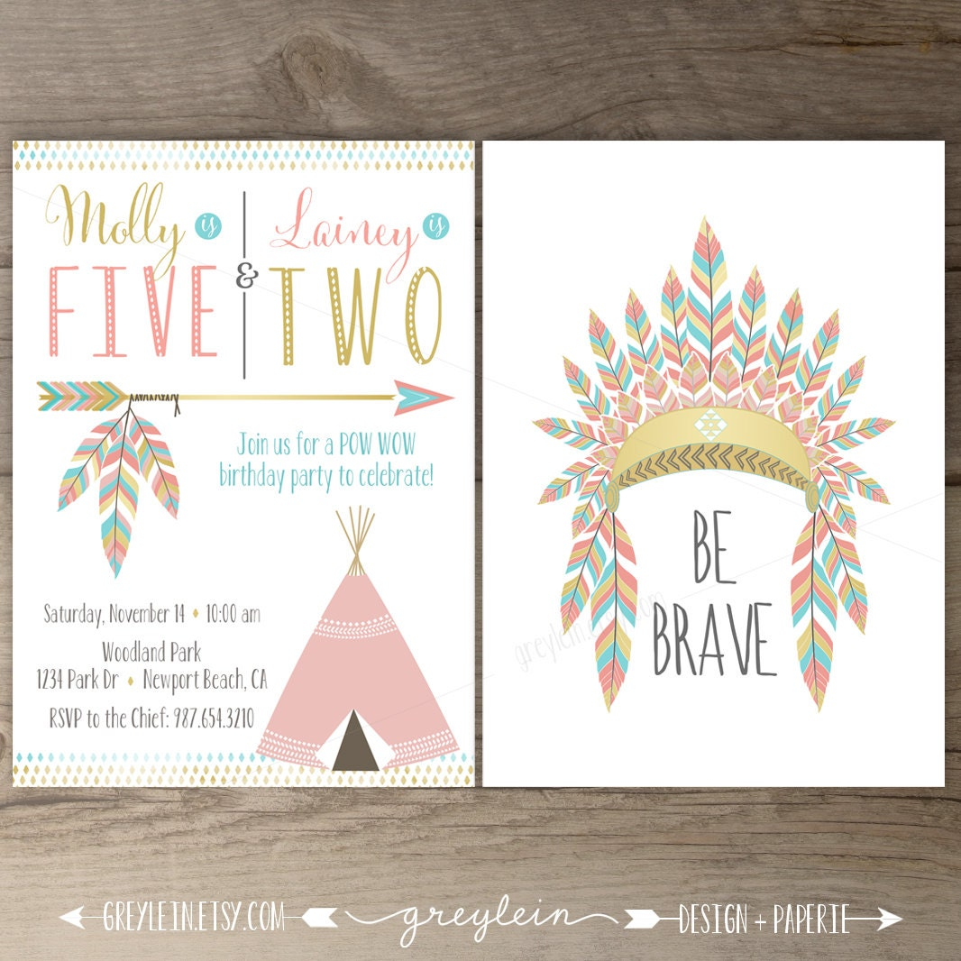 Printable Joint Birthday Party Invitations ~ Joint birthday party pow wow invitations sibling