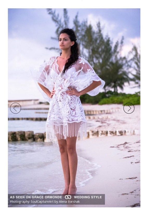 Irina Shabayeva Couture Lace Tunic with fringed sleeve. Comes in white, black, nude, red, and navy.