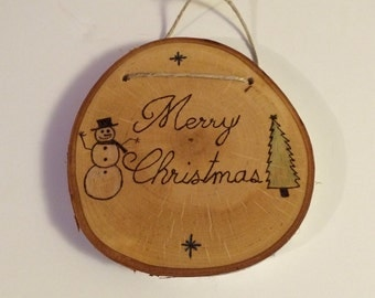 Rustic Merry Christmas wood burned wall decor, wood snowman sign, snowman wall hanging, birch wood decor, rustic seasonal sign