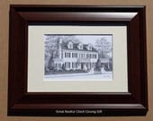 Framed Custom Home Portrait- Graphite Pencil Original Your My Home Sketch Drawing Christmas  First Home  Closing Gifts