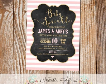 Baby Girl Baby Sprinkle invitation with stripes light pink and gold and chalkboard background - light pink can be changed
