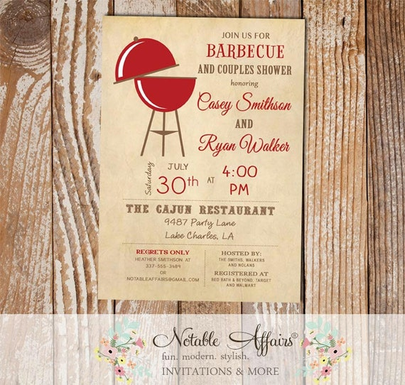 Couples Bbq Baby Shower: Vintage Backyard Barbecue BBQ Couples Shower Invitation