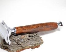 handcrafted wooden razor, handcrafted wood razor, anniversary gift ideas, groomsmen gift, christmas gift,wooden safety razor double edge