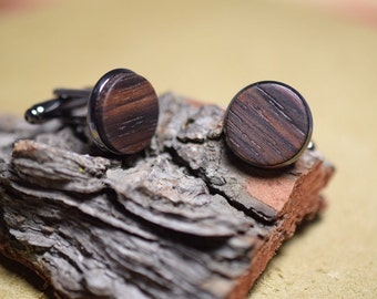 RoseWood cufflinks handcrafted cufflinks silver and gun metal groomsmen Father's Day gift ideas wood cufflinks