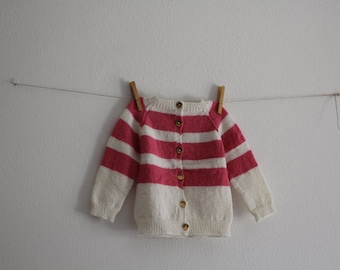 Vintage Baby Knitwear Wool Toddler Jacket Knitted Baby Cozy Handmade Girl Fall Winter Clothing Pink Blouse