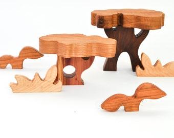 Wooden Scenery Blocks Set: 6 Waldorf-Inspired Wooden Toys