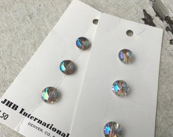 Buttons, iridescent, original packaging