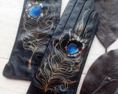 Black and blue Leather Gloves - Hand painted - SIZE 8.5 - ready to ship - autumn - winter - copper - red - red flower gloves - autumn gloves