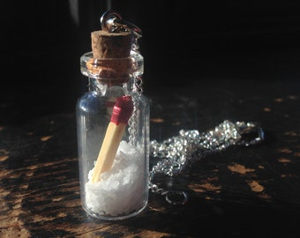 Salt and Burn Glass Bottle Vial Necklace with Real Salt and Match
