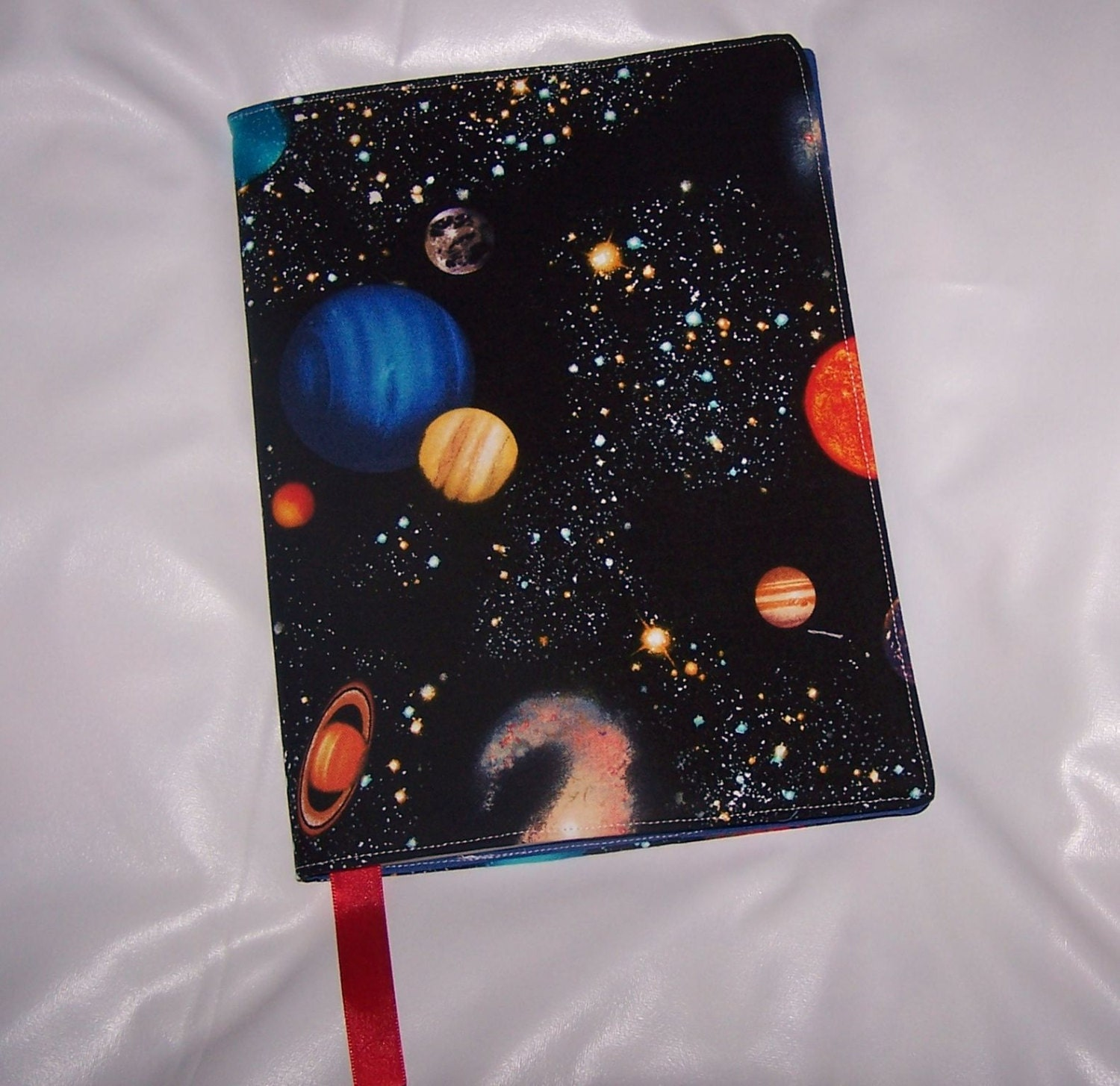 Planet solar system fabric journal cover by lisalynnitems for Solar system fabric
