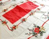 "Large 66"" X 46"" Vintage Tablecloth Christmas festive retro 60s 70s"