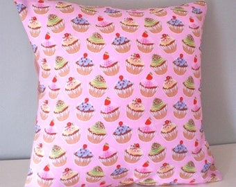 Kawaii Cakes Upcycled Teatowel Cushion / Pillow cover